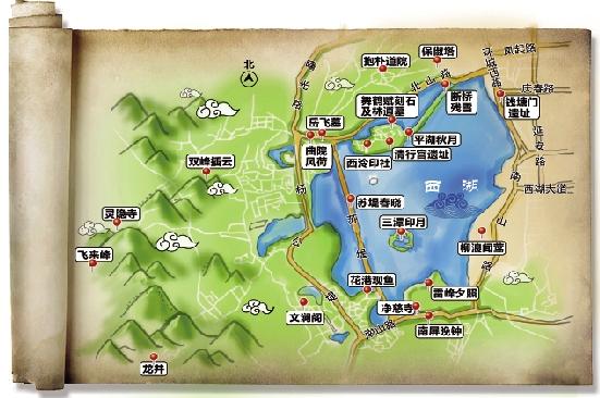 Mapa del Lago Oeste Hangzhou